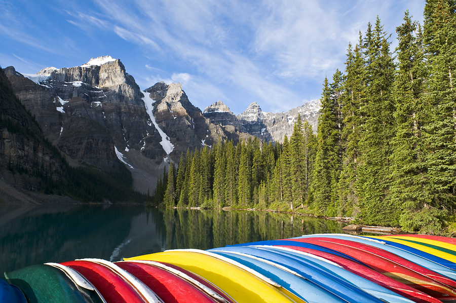 The Canoes at Moraine Lake