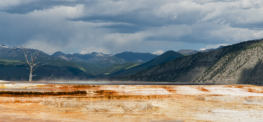A Storm on the Horizon at Mammoth Hot Springs